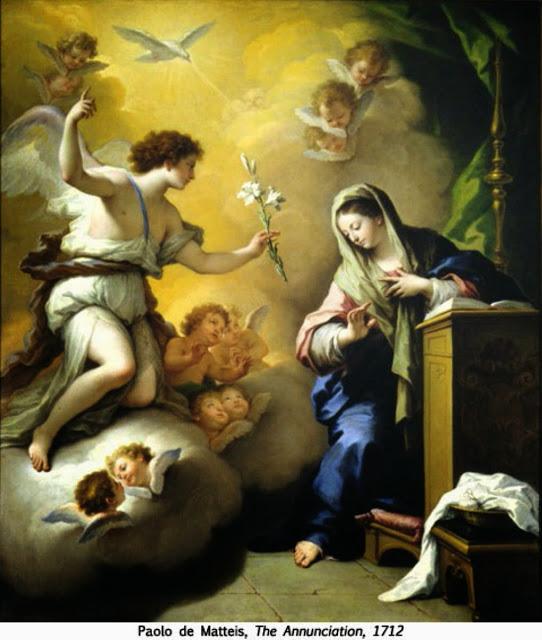 Thánh Gabriel mang hoa Ly đến báo tin cho Mary